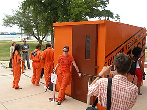 Mock Guantanamo Bay prisoner cell used in Amne...