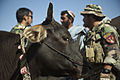 An Afghan National Army Special Forces (ANASF) medic speaks with a villager at a security position for fellow ANASF soldiers helping Afghan Local Police officers build a checkpoint in Helmand province 130403-M-BO337-064.jpg