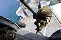 An Algerian navy boarding team member fast-ropes out of a Hellenic Navy S-70B-6 Aegean Hawk helicopter at the NATO Maritime Interdiction Operational Training Center on Souda Bay in Greece May 17, 2012, during 120517-N-IR479-472.jpg