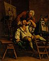 An itinerant operator extracting a tooth. Oil painting after Wellcome V0017178.jpg