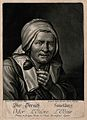 An old woman with a flower; representing the sense of smell. Wellcome V0007693EL.jpg