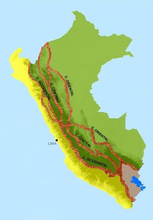 Cordillera Occidental (Peru) - Map of Peru and its codilleras.