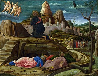 Agony in the Garden - Jesus praying in the garden after the Last Supper, while the disciples sleep and Judas leads the mob, by Andrea Mantegna c. 1460