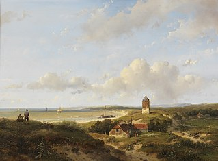 Een vuurtoren en visserswoningen in de duinen, in de verte de zee