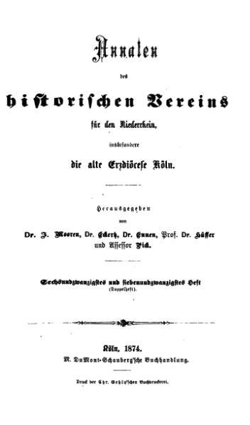 File:Annalen des Historischen Vereins für den Niederrhein 26-27 (1874).djvu
