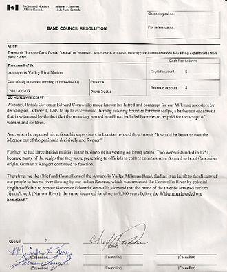 Cornwallis River - AVFN Band Council Resolution, May 3, 2011, regarding reverting river name to Jijuktu'kwejk