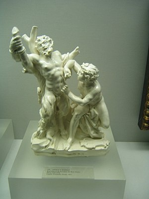Real Fábrica del Buen Retiro - Apollo and Marsyas. Porcelain decorative artwork made between 1760 and 1770 at Real Fábrica de Porcelanas del Buen Retiro