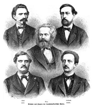 History of the Social Democratic Party of Germany - Protagonists of the political party organized early German workers' movement (Top row: August Bebel and Wilhelm Liebknecht for the SDAP - Middle: Karl Marx as an ideal pulse Bottom row: Carl Wilhelm Tölcke, Ferdinand Lassalle for ADAV)