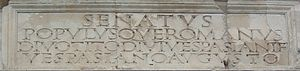 "Roman square capitals - The inscriptional capitals on the Arch of Titus, c. 81 AD, are an example of inscriptional lettering which would have been infilled with bronze. Note the holes for the ""tangs"" of the cast bronze letters."