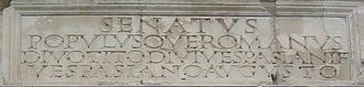 Letter case - Latin majuscule inscription on the Arch of Titus (82 CE)