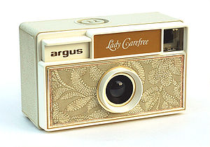 Argus (camera company) - Argus Lady Carefree, plastic camera for 126 mm film cartridges, c. 1967