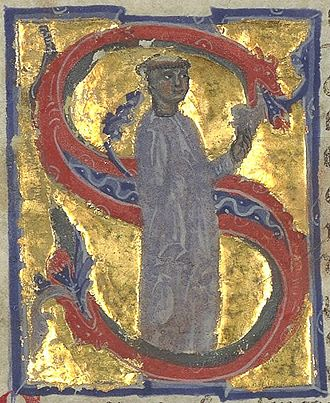 Arnaut de Mareuil - Arnaut standing amidst an initial S in a 13th-century chansonnier.