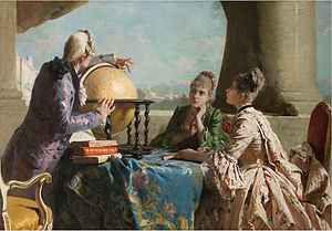 Eleuterio Pagliano - Pagliano Eleuterio, La lezione di geografia, Geography lessons - 1880 depiction of 18th-century scene