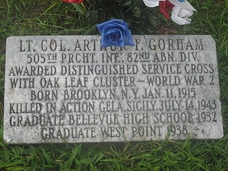 Arthur F. Gorham - Headstone on LTC Gorham's grave in Bellevue, Ohio (photo by Bruce B.G. Clarke and posted with permission)