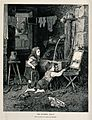 As two adults talk in a back room, a child attempts to add t Wellcome V0039356.jpg