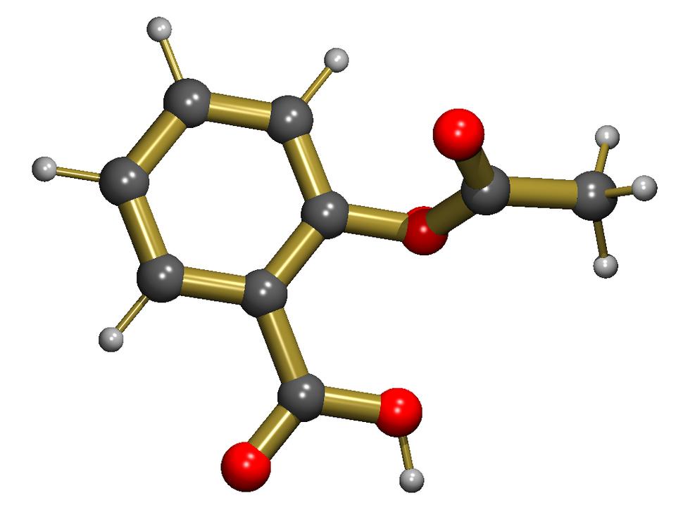 ייצוג תלת-ממדי של נוסחת המבנה של אספירין