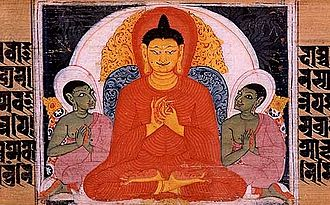 Buddhism - The Buddha teaching the Four Noble Truths. Sanskrit manuscript. Nalanda, Bihar, India.
