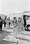 Astronauts Neil A. Armstrong and David R. Scott walk up the ramp at Pad 19.jpg