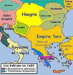 Regno d'Ungheria (giallo) intorno al 1400