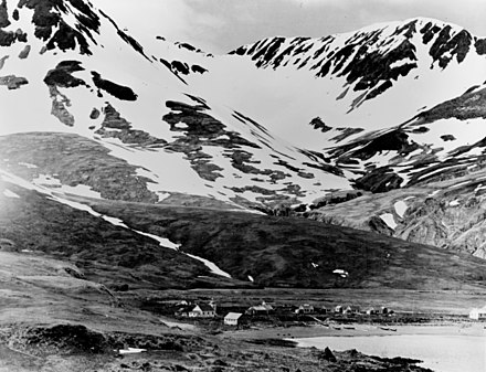 Attu village, occupied by the Japanese and retaken during the Battle of Attu. Attu village 1937.jpg