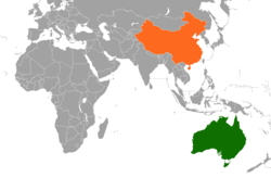 Map indicating locations of Australia and China