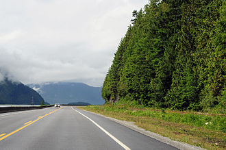 British Columbia Highway 16 - Highway 16 heading west towards Prince Rupert from Terrace
