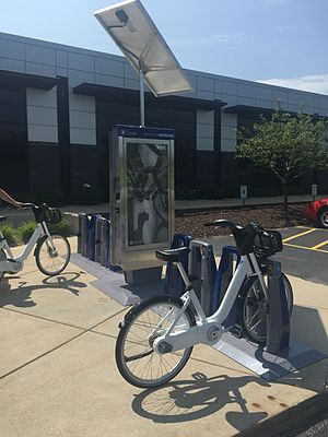 B-cycle - BCycle's 2.0 bike share system in front of the Trek Bicycle headquarters in Waterloo, Wisconsin.