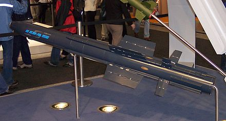 Model of the multirole IDAS missile of the German Navy, which can be fired from submerged anti-aircraft weapon systems BGT IDAS.jpg