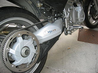 BMW F650CS - A toothed belt drive is cleaner, quieter, and more responsive than a chain drive, and requires less maintenance, but has greater power losses.