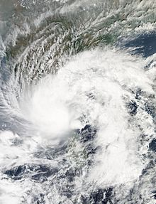 A satellite image of Deep Depression BOB 03 while the storm was located in the Bay of Bengal just off the southern Indian coast on 9 November