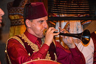 Zurna - An Algerian musician playing the zurna.