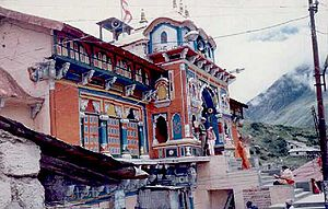 Badrinath - Badrinath temple in night after closing ceremony.