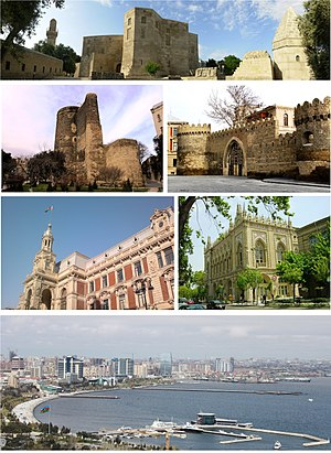 From top, left to right: Shirvanshah's Palace, Maiden Tower, Walled City, Mayoralty of Baku, Ismailiyya building and Baku Boulevard at the Caspian Sea