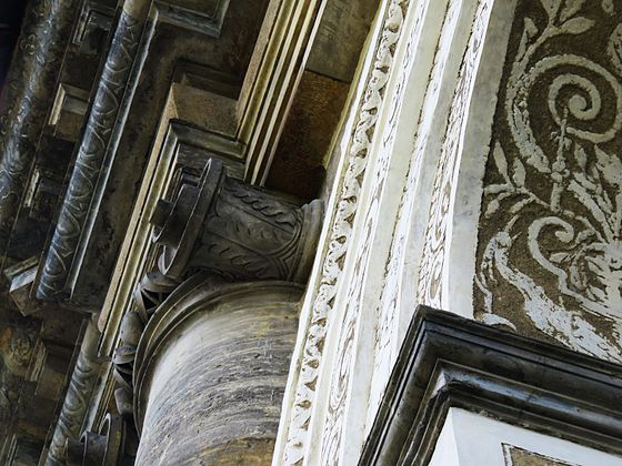 Detail of the facade of the Ball Game Hall in Prague Royal Garden with sgraffito and Ionic column built by Bonifác Wohlmut in 1569