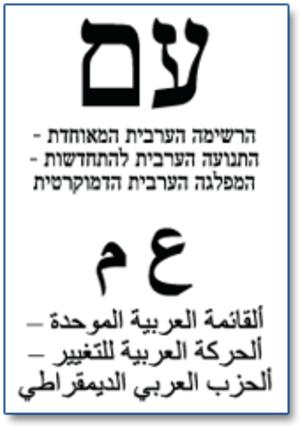 United Arab List - United Arab List election ballot