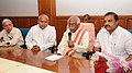 Bandaru Dattatreya at the review meeting with the State Minister of Telangana, Shri A. Indrakaran Reddy and other officials, on the progress of housing in the state, in Hyderabad.jpg