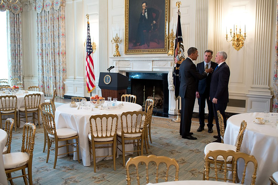 Barack Obama with Peter Shumlin and Mike Pence