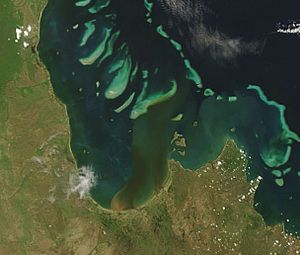 Princess Charlotte Bay - 2007 image from NASA's Terra satellite showing plumes of sediment flowing into the bay