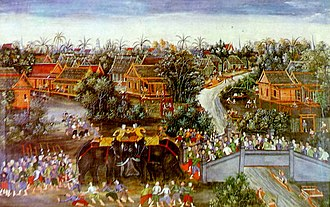 Borommarachathirat II - A painting, depicting the event in which two sons of King Intharacha fought each other to the death on elephants at Pa Than Bridge. The painting is now in the Warophat Phiman Hall, Bang Pa-In Royal Palace.