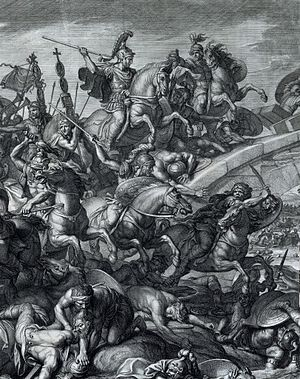 Battle of the Milvian Bridge - Image: Battle at the Milvian Bridge, Gérard Audran after Charles Le Brun, 1666 crop