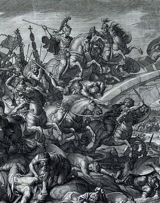 Battle of the Milvian Bridge - Image: Battle at the Milvian Bridge, Gérard Audran after Charles Le Brun, 1666 crop