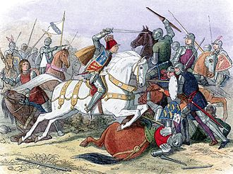Exhumation and reburial of Richard III of England - An 1864 conception of Richard III in the Battle of Bosworth