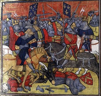 Battle of Fontenoy, depiction from the 14th century