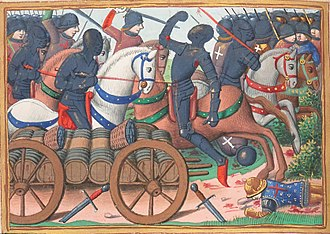 Battle of the Herrings - Journée des Harengs (from Les Vigiles de Charles VII by Martial d'Auvergne, written c. 1477–84, held by Bibliothèque Nationale, Paris)