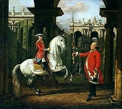 Bernardo Bellotto: Colonel Piotr Königsfels teaching Prince Józef Poniatowski how to ride