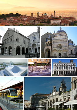 Top: View of sunrise over the skyline of Bergamo Alta area, with the Basilica di Santa Maria Maggiore. Second row, left: Palazzo della Ragione in Duomo. Second row, right: Basilica di Santa Maria Maggiore. Third row, left: asymptote architecture built in Azzano San Paolo. Third row, center: Contarini Fountain in Piazza Vecchia. Third row, right:Biblioteca Angelo Mai. Bottom row, left: Bergamo tramway station. Bottom row, right: Sentierone.