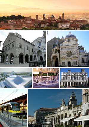 Tap: Ceety skyline at sunrise. Seicont row. Left: Palazzo della Ragione an Bergamo Cathedral. Richt: Cappella Colleoni. Third row. Left: asymptote airchitectur . Middle: Contarini Foontain in Piazza Vecchia. Right: Biblioteca Angelo Mai. Fourth row. Left: Bergamo–Albino light rail station. Richt: Passeggiata in the central destrict.