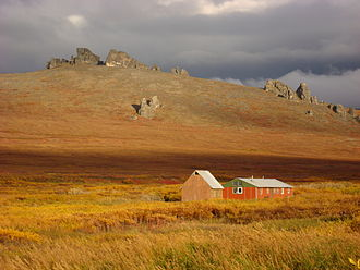 Bering Land Bridge National Preserve - The tors and bunkhouse at Serpentine Hot Springs