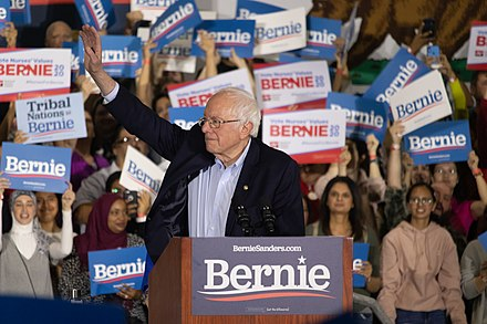 Sanders campaigning for president in San Jose, California, March 2020 Bernie Sanders - Rally at San Jose, CA - 2.jpg
