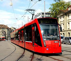 Trams in Bern - A Siemens Combino 2 tram in Bern, 2010.